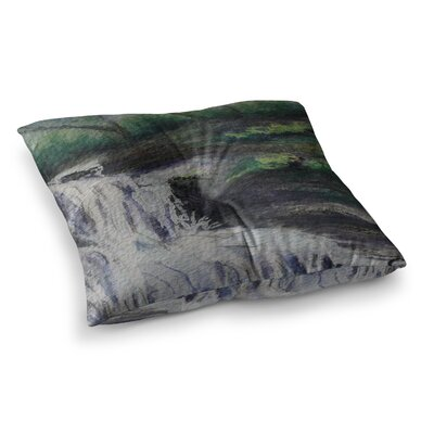 Justins Falls Mixed Media by Cyndi Steen Floor Pillow Size: 23 x 23