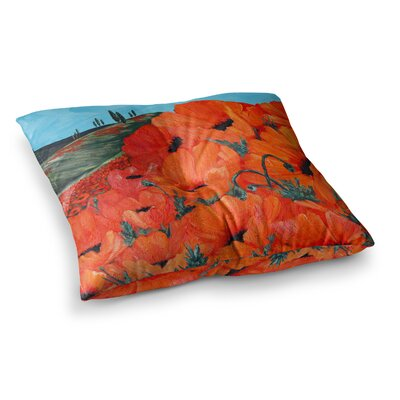 Poppies by Christen Treat Floor Pillow Size: 23 x 23