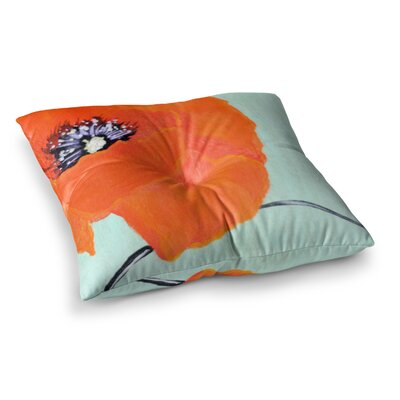 Vintage Poppy Flower by Christen Treat Floor Pillow Size: 26 x 26