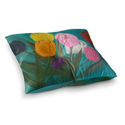 Tulips Flower by Christen Treat Floor Pillow Size: 26 x 26