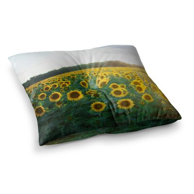 Sunflower Fields Floral Photography by Chelsea Victoria Floor Pillow Size: 26 x 26