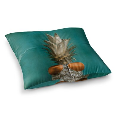 24 Karat Pineapple Digital by Chelsea Victoria Floor Pillow Size: 26 x 26