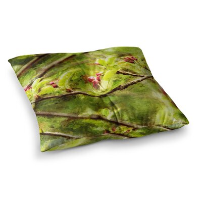 Painted Apple Blossom Branch Photography by Ginkelmier Floor Pillow Size: 23 x 23