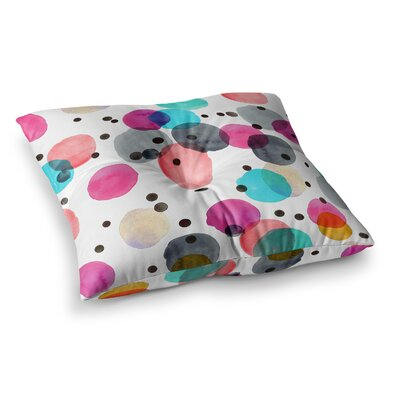 Festive Watercolor Dots by Crystal Walen Floor Pillow Size: 26 x 26