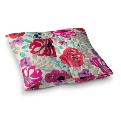 Mona Brush Stroke Floral Painting by Crystal Walen Floor Pillow Size: 26