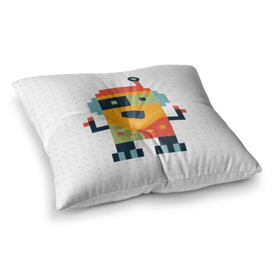 Happy Robot by Daisy Beatrice Floor Pillow Size: 23 x 23