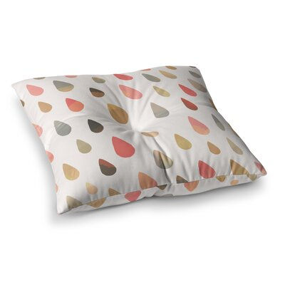 Opal Drops by Daisy Beatrice Floor Pillow Size: 26 x 26, Color: Peach/White