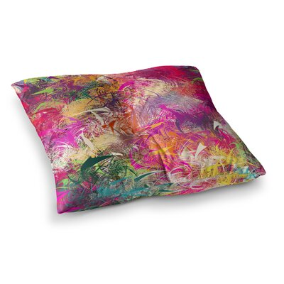 Splash Rainbow Abstract by Danny Ivan Floor Pillow Size: 26 x 26