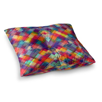 Squares Everywhere Rainbow Shapes by Danny Ivan Floor Pillow Size: 26 x 26
