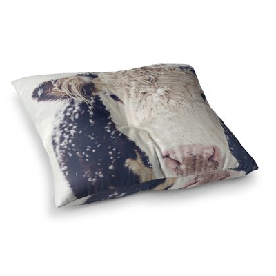 Snowy Cow by Debbra Obertanec Floor Pillow Size: 26 x 26