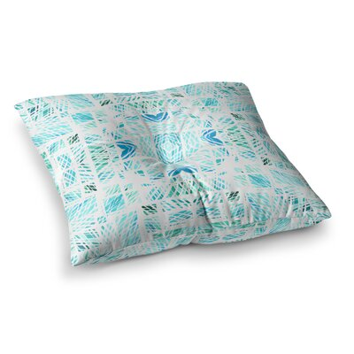 Scandanavian Square by Danii Pollehn Floor Pillow Size: 23 x 23, Color: Teal/Blue