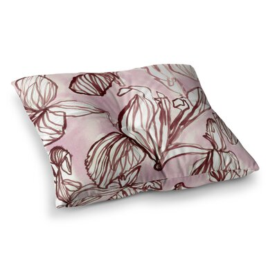 Iris Watercolor Illustration by Danii Pollehn Floor Pillow Size: 26 x 26