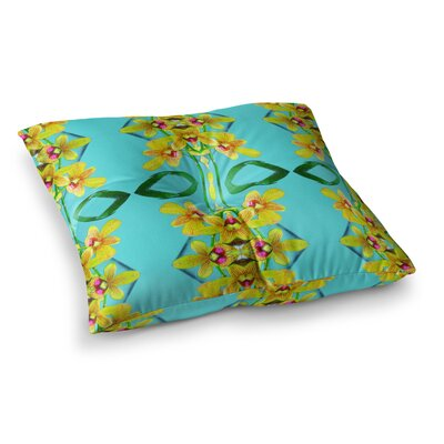 Tropical Floral Orchids by Dawid Roc Floor Pillow Size: 26 x 26, Color: Teal