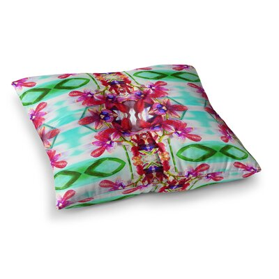 Tropical Floral Orchids by Dawid Roc Floor Pillow Size: 23 x 23, Color: Pink