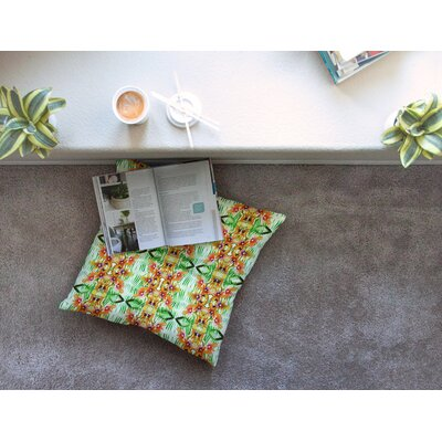 Tropical Flowers Palm Leaves Pattern by Dawid Roc Floor Pillow Size: 26 x 26