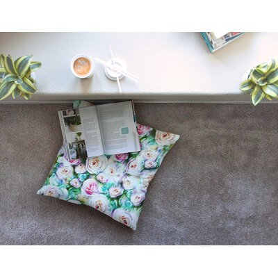 Bright Rose Floral Abstract by Dawid Roc Floor Pillow Size: 26 x 26