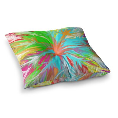 Tropical Paradise Rainbow Abstract by Dan Sekanwagi Floor Pillow Size: 23 x 23