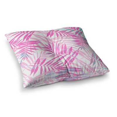 Pastel Palm Leaves Illustration by Cafelab Floor Pillow Size: 23 x 23