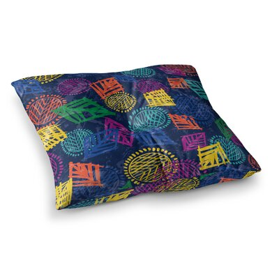 African Beat by Emine Ortega Floor Pillow Size: 26 x 26, Color: Blue