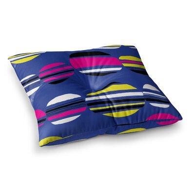 Retro Circles by Emine Ortega Floor Pillow Size: 23 x 23, Color: Cobalt