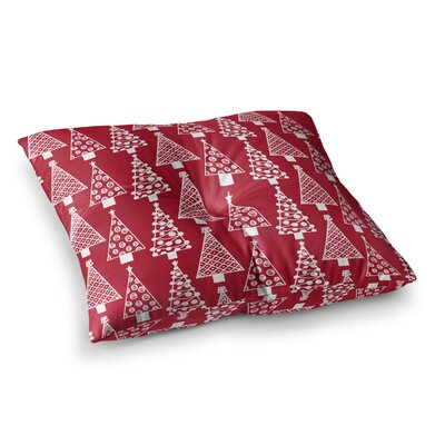 Jolly Trees by Emine Ortega Floor Pillow Size: 26 x 26, Color: Red