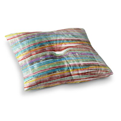 Fancy Stripes by Frederic Levy-Hadida Floor Pillow Size: 23 x 23, Color: Light Rainbow