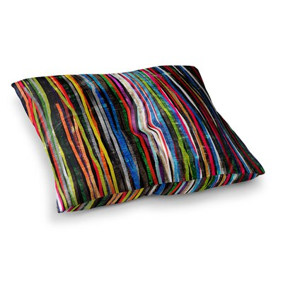 Fancy Stripes by Frederic Levy-Hadida Floor Pillow Size: 26 x 26, Color: Dark Blue