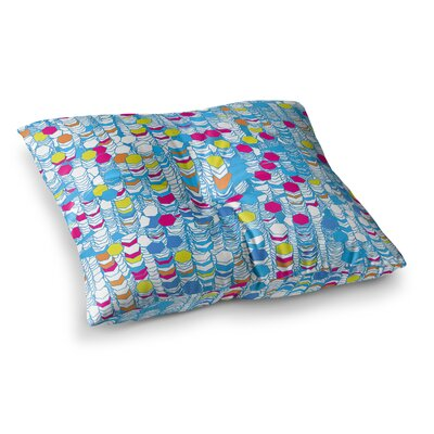 Color Hiving by Frederic Levy-Hadida Floor Pillow Size: 23 x 23, Color: Red/Blue