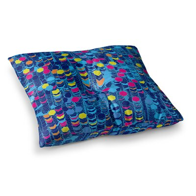 Color Hiving by Frederic Levy-Hadida Floor Pillow Size: 23 x 23, Color: Red/Blue/Navy