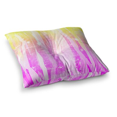 Jungle Stripes by Frederic Levy-Hadida Floor Pillow Size: 26 x 26, Color: Pink/Red/Yellow