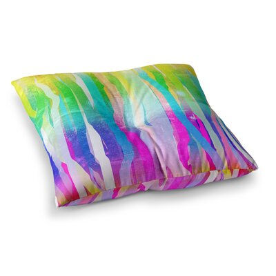 Jungle Stripes by Frederic Levy-Hadida Floor Pillow Size: 23 x 23, Color: Red/Green