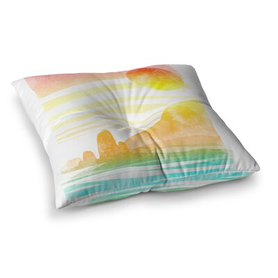 Landscape Painted with Tea Coastal by Frederic Levy-Hadida Floor Pillow Size: 26 x 26