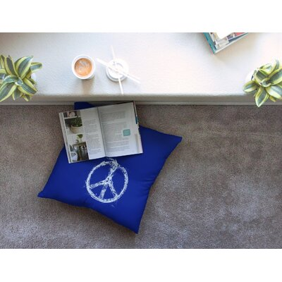 Bird Sewing Peace by Frederic Levy-Hadida Floor Pillow Size: 26 x 26