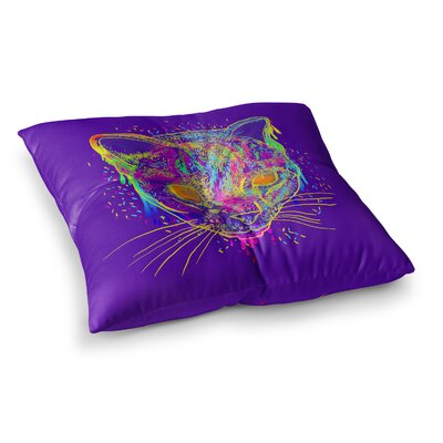 Candy Cat Rainbow by Frederic Levy-Hadida Floor Pillow Size: 23 x 23, Color: Red/Purple