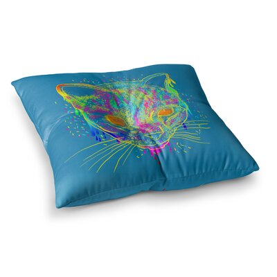 Candy Cat Rainbow by Frederic Levy-Hadida Floor Pillow Size: 23 x 23, Color: Blue
