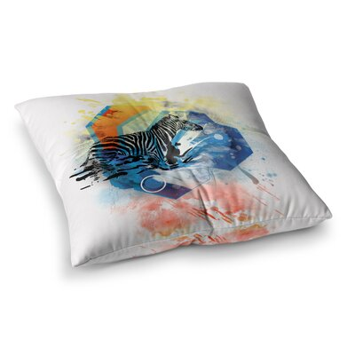 Walk Off the Colors Zebra by Frederic Levy-Hadida Floor Pillow Size: 26 x 26