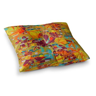Foliage Folie Digital by Frederic Levy-Hadida Floor Pillow Size: 23 x 23, Color: Maroon/Yellow