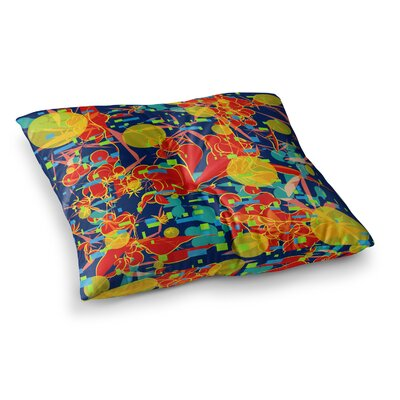 Foliage Folie Digital by Frederic Levy-Hadida Floor Pillow Size: 23 x 23, Color: Red/Orange/Blue