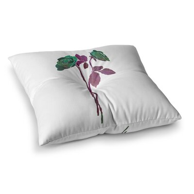 2 Roses Digital by Frederic Levy-Hadida Floor Pillow Size: 26 x 26, Color: Green/Purple