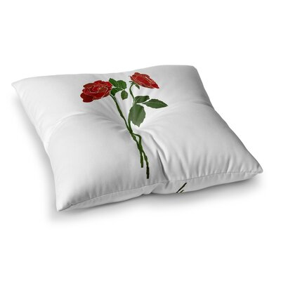2 Roses Digital by Frederic Levy-Hadida Floor Pillow Size: 26 x 26, Color: Red/Green