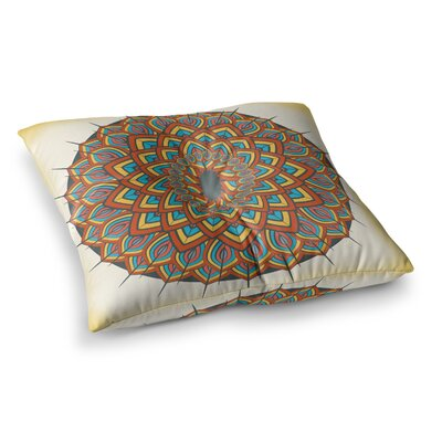Floral Mandala Geometric by Famenxt Floor Pillow Size: 23 x 23