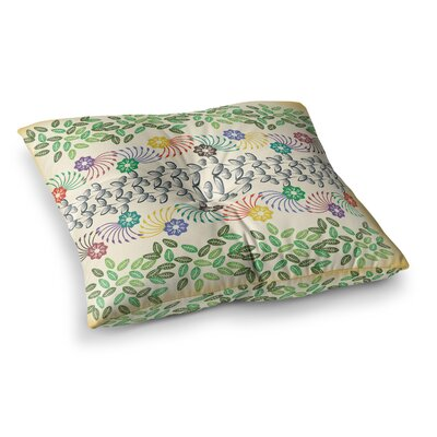 Flowers and Leaves Pattern Geometric by Famenxt Floor Pillow Size: 23 x 23