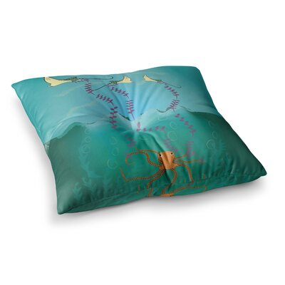 Octopus Flying Manta Rays by Famenxt Floor Pillow Size: 26 x 26