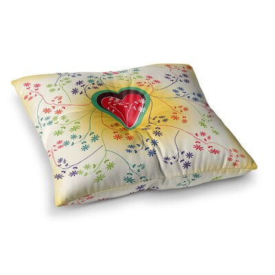 Romantic Heart by Famenxt Floor Pillow Size: 26 x 26