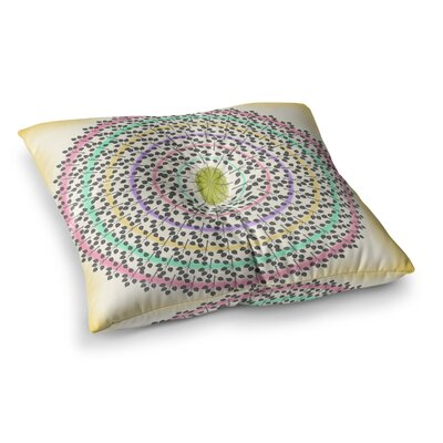 Leafy Watercolor Mandala by Famenxt Floor Pillow Size: 26 x 26