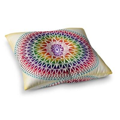 Colorful Vibrant Mandala Rainbow Geometric by Famenxt Floor Pillow Size: 26 x 26