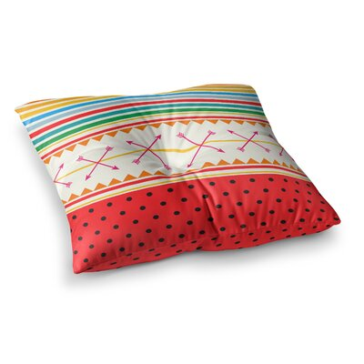 Watermelon Arrows and Colors by Famenxt Floor Pillow Size: 26 x 26
