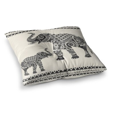 Ornate Indian Elephant-Boho by Famenxt Floor Pillow Size: 26 x 26
