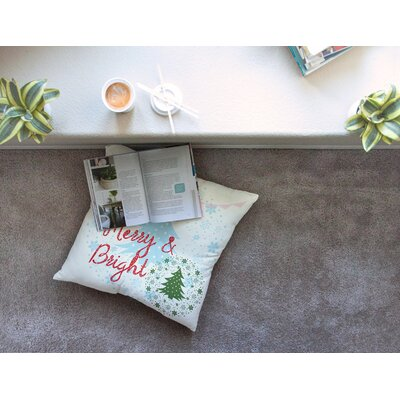 Merry and Bright Holiday Typography by Famenxt Floor Pillow Size: 23 x 23