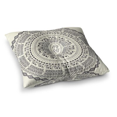 Swadesi Boho Mandala Illustration by Famenxt Floor Pillow Size: 26 x 26, Color: Beige